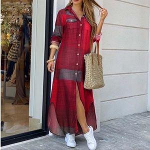 Berry Suay Plaid Button Down Maxi Shirtdress  S-5X